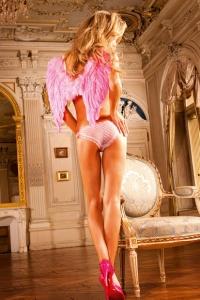 Vit-rosafärgad Bikini-trosa med hjärtmönster