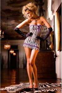Zebra tub-klänning med spets
