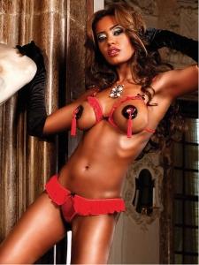 Rött bikini set med öppen byst