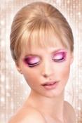 Svart-rosafärgade glamourögonfransar inkl. lim
