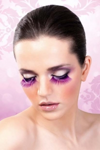 Lilafärgade glamourögonfransar inkl. lim