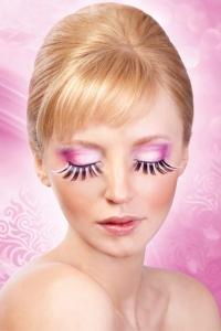 Rosa-svarta glamourögonfransar inkl. lim