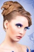 Blåa glamourögonfransar inkl. lim